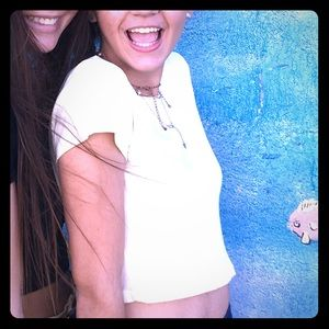 BRANDY MELVILLE WHITE RIBBED TOP